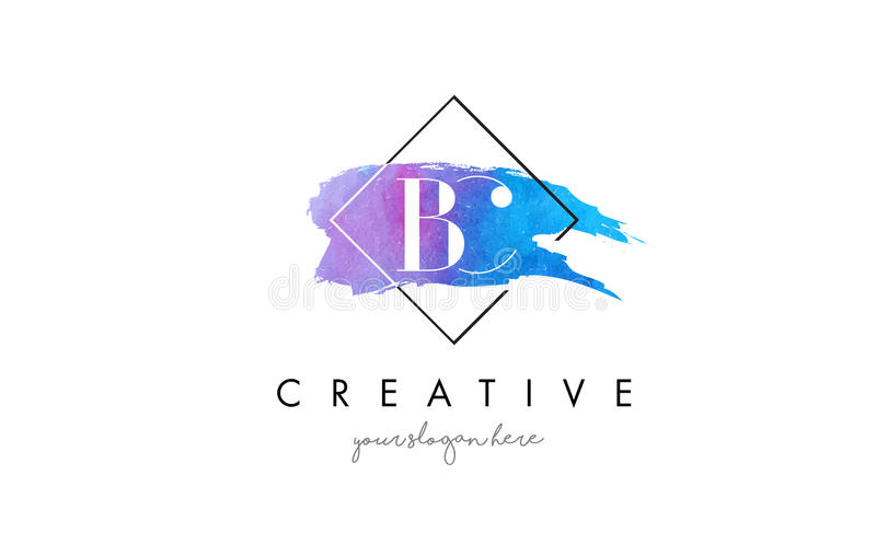 BC Artistic Watercolor Letter Brush Logo. stock illustration