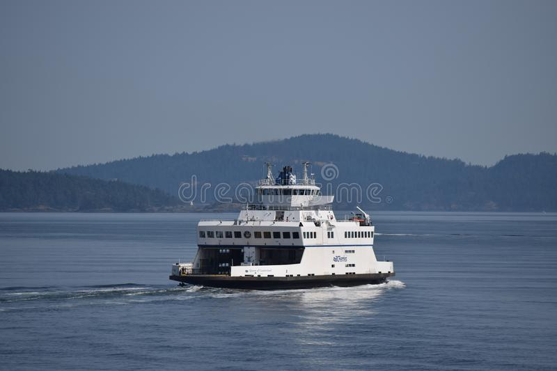 BC FERRY , ON A CALM MORNIG. BC FERRY FROM VICTORIA ON A CALM ,STILL PACIFIC OCEAN royalty free stock image