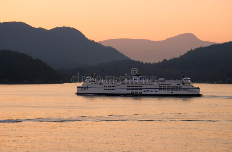 BC Ferry enroute from Horseshoe Bay to Nanaimo. At sunset, West Vancouver, BC stock photo