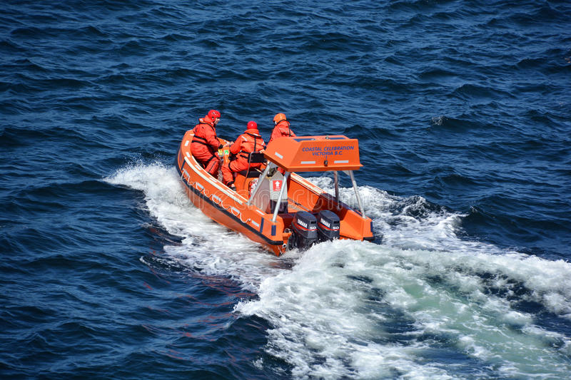 BC Ferry exercise. VICTORIA HARO STRAIT BC CANADA JUNE 26 2015: BC Ferry exercise a 'door-opener' for Peninsula marine-rescue Crew Training, Safety Drills & stock photo
