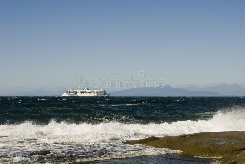 BC Ferry, Georgia Strait, British Columbia. Northeast view from Gabriola Island. BC Ferry plys the waters of Geoargia Strait. Looking Northeast from Berry Point royalty free stock images
