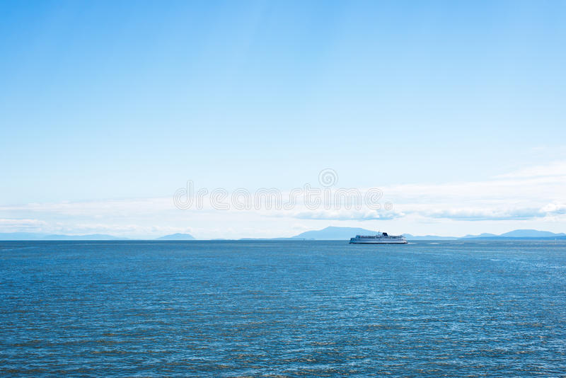 BC ferry. BC passenger and car loaded ferry while on a trip between Vancouver and Salt Spring Island stock images