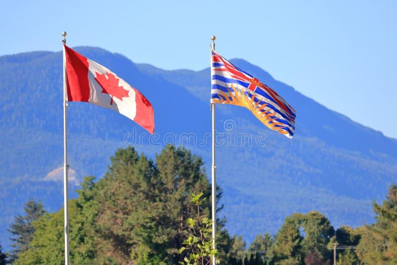 BC i Kanadyjskie Plenerowe flagi fotografia royalty free