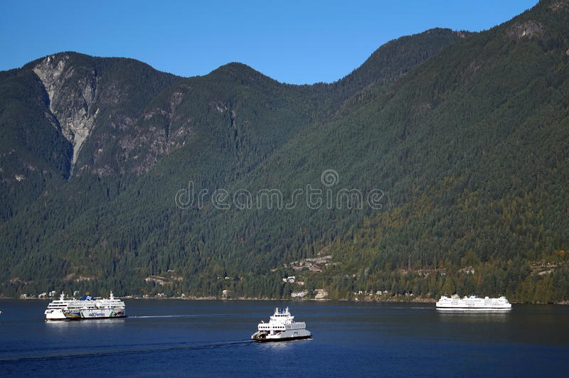 BC Passenger Ferry off the coast of Vancouver, Canada. BC Passenger Ferry on the Pacific Ocean off the coast of Vancouver, Canada. Pictured is the transportation royalty free stock images