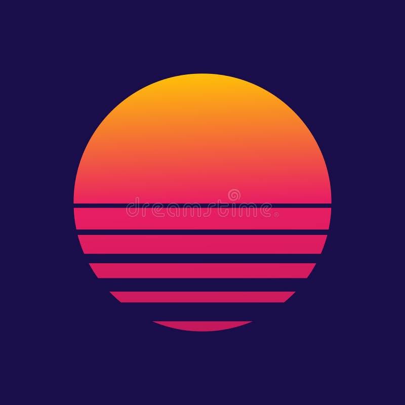 Bckground futuriste les années 80 Le soleil de style de Cyberpunk Nouvelle r?tro vague Illustration de vecteur photos libres de droits