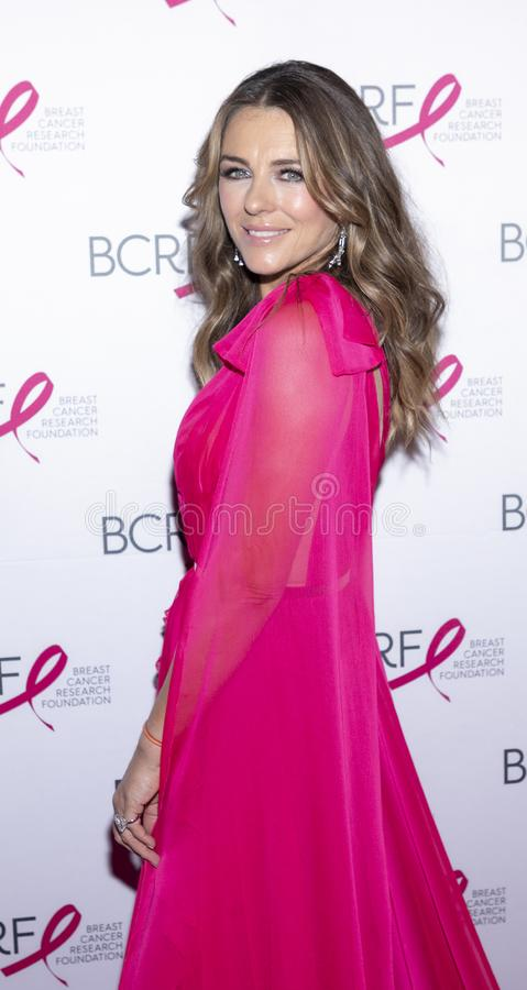 BCRF 2019 Hot Pink Party arrivals. New York, NY, USA - May 15, 2019: Elizabeth Hurley attends the Breast Cancer Research Foundation 2019 Hot Pink Party at Park royalty free stock images