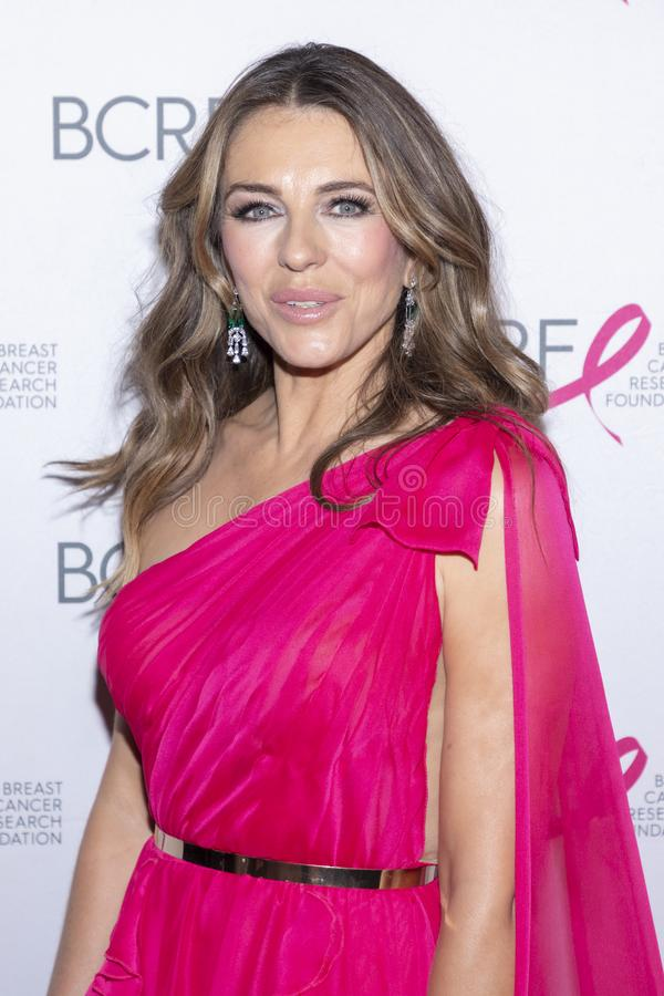 BCRF 2019 Hot Pink Party arrivals. New York, NY, USA - May 15, 2019: Elizabeth Hurley attends the Breast Cancer Research Foundation 2019 Hot Pink Party at Park royalty free stock photos