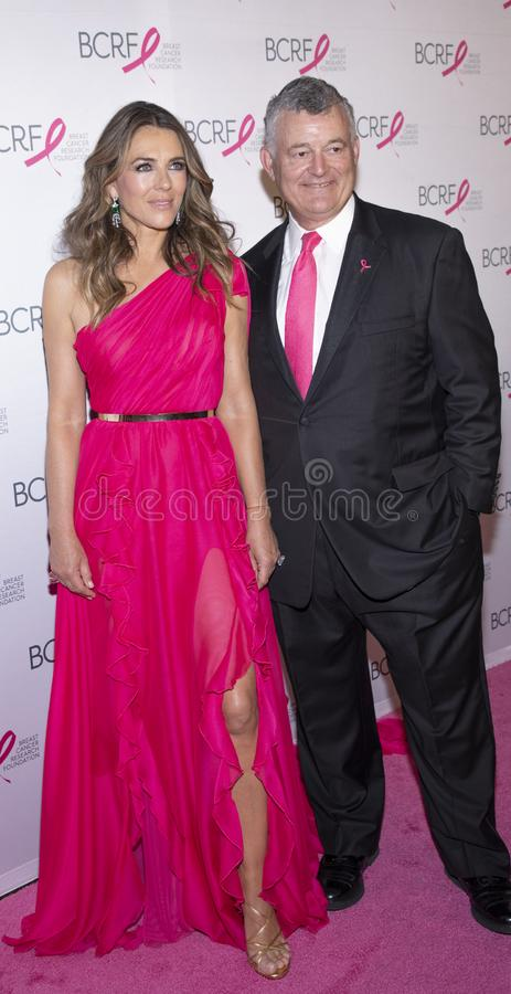BCRF 2019 Hot Pink Party arrivals. New York, NY, USA - May 15, 2019: Elizabeth Hurley and William P. Lauder attend the Breast Cancer Research Foundation 2019 Hot stock image