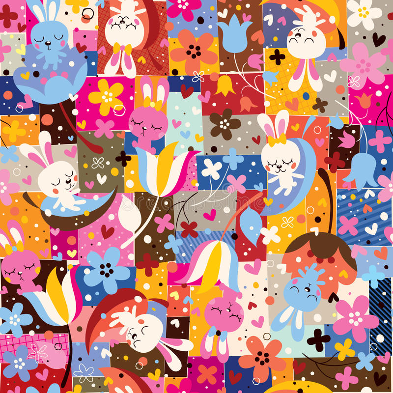 cute bunnies & flowers collage nature pattern vector illustration