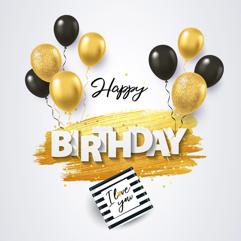 Happy Birthday card with gift box, black and gold balloons, confetti and texture of golden brush strokes on a white background stock illustration
