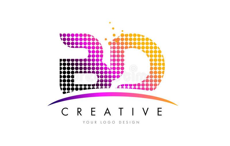 BD B D Letter Logo Design with Magenta Dots and Swoosh. BD B D Dots Letter Logo Design with Magenta Bubble Circles and Swoosh stock illustration