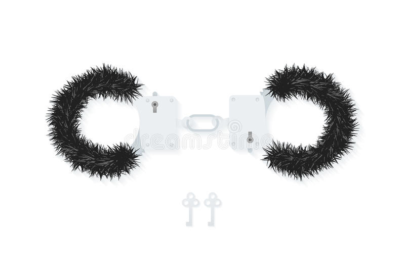 BDSM fluffy handcuffs, bondage element to immobilize partner. Sex shop stuff for sadist and masochist. Modern flat EPS10 stock illustration