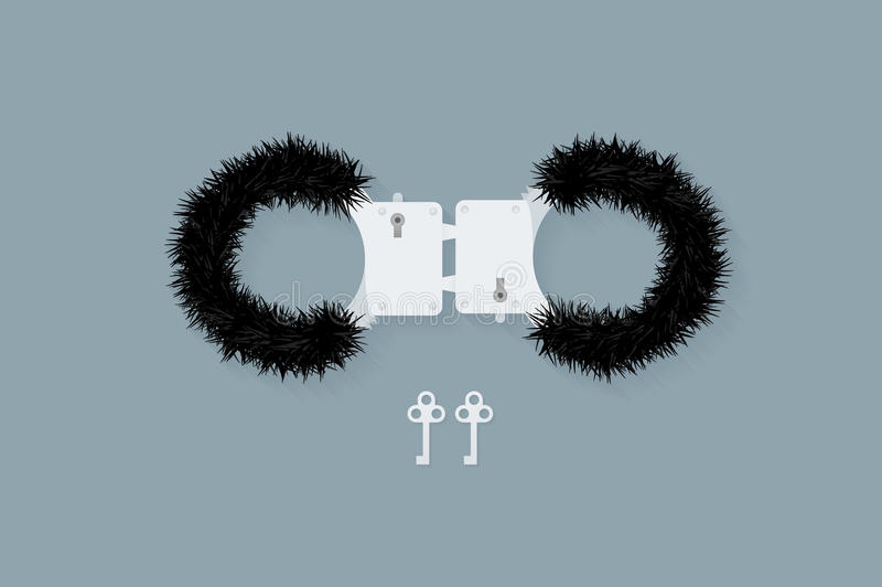 BDSM fluffy handcuffs, bondage element to immobilize partner. Sex shop stuff for sadist and masochist. Modern flat vector EPS10 stock illustration