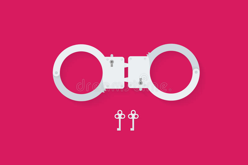 BDSM handcuffs, bondage element to immobilize partner. Sex shop stuff for sadist and masochist. Modern flat vector EPS10 stock illustration