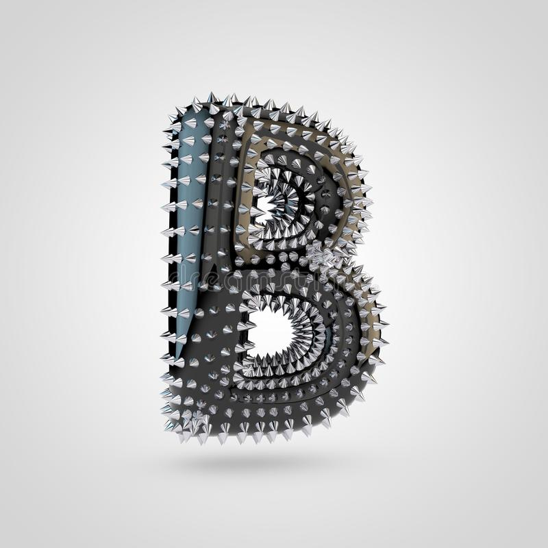 BDSM black latex letter B uppercase with chrome spikes isolated on white background vector illustration