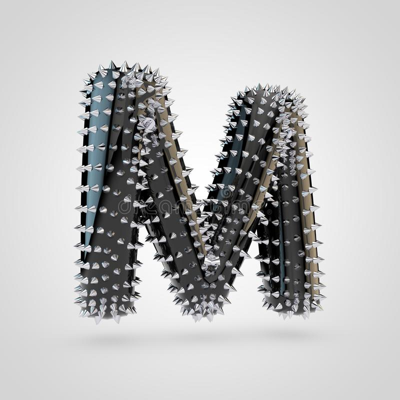 BDSM black latex letter M uppercase with chrome spikes isolated on white background royalty free illustration