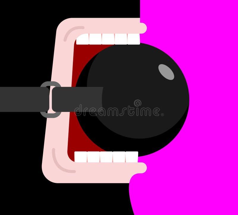 BDSM-Prop in mond sexy stuk speelgoed Vector illustratie royalty-vrije illustratie