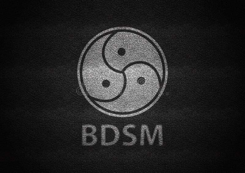 Bdsm teckenvit som utföra i relief på svart läder royaltyfri illustrationer