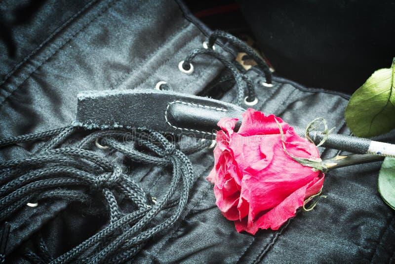Bdsm zabawki i gothic gorsecik z różanym tłem obrazy royalty free