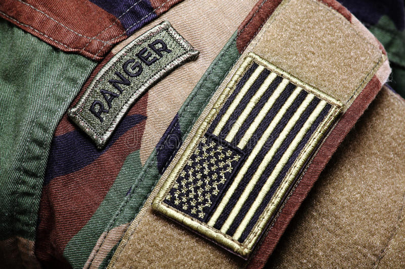 BDU (woodland camo uniform) with pathes royalty free stock images