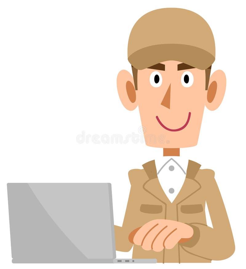 Beżowy pracującej odzieży mężczyzna który działa komputer osobistego royalty ilustracja