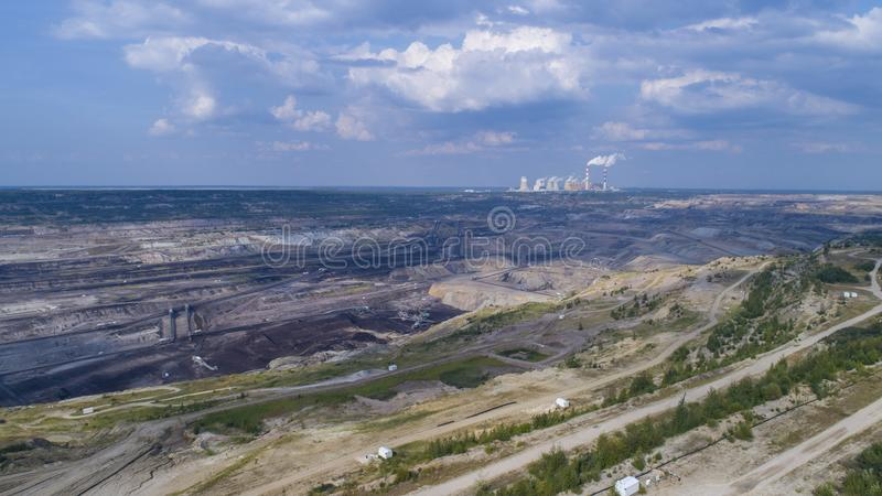 Bełchatów mine in the background of a power plant,Poland, 08.2017, aerial view stock photos