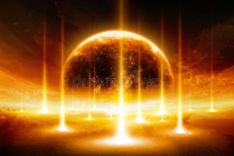 Beëindigen van de wereld, exploderende planeet stock illustratie