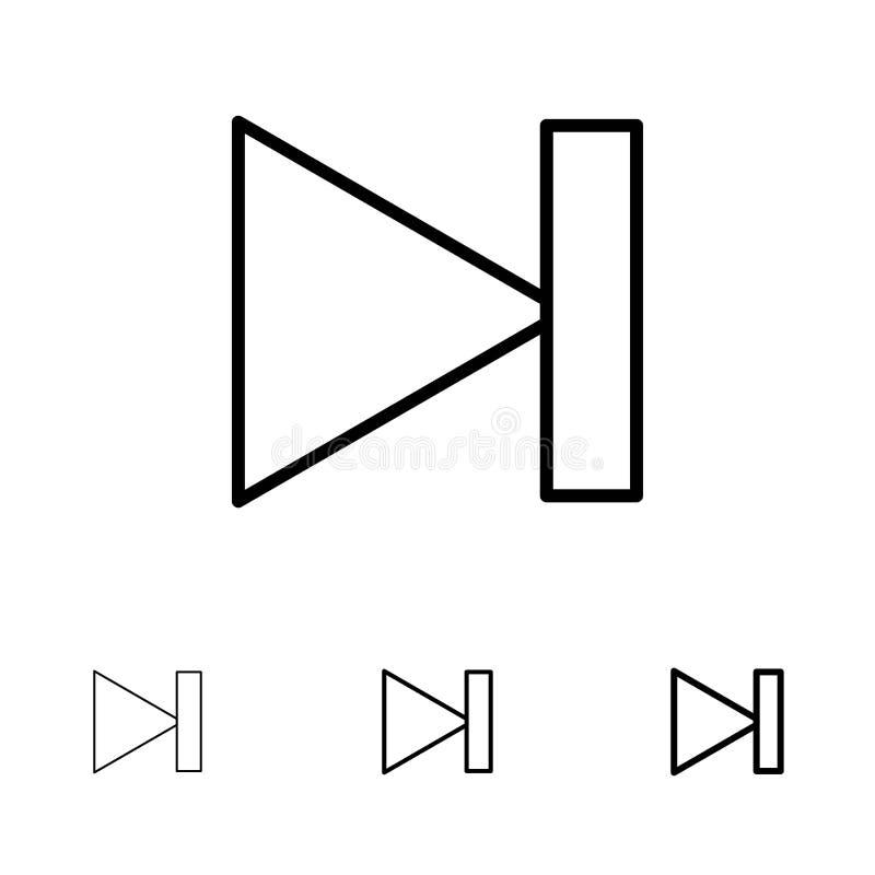 Beëindigen, Voorwaartse, Laatste, daarna Gewaagde en dunne zwarte van het lijnpictogram reeks vector illustratie