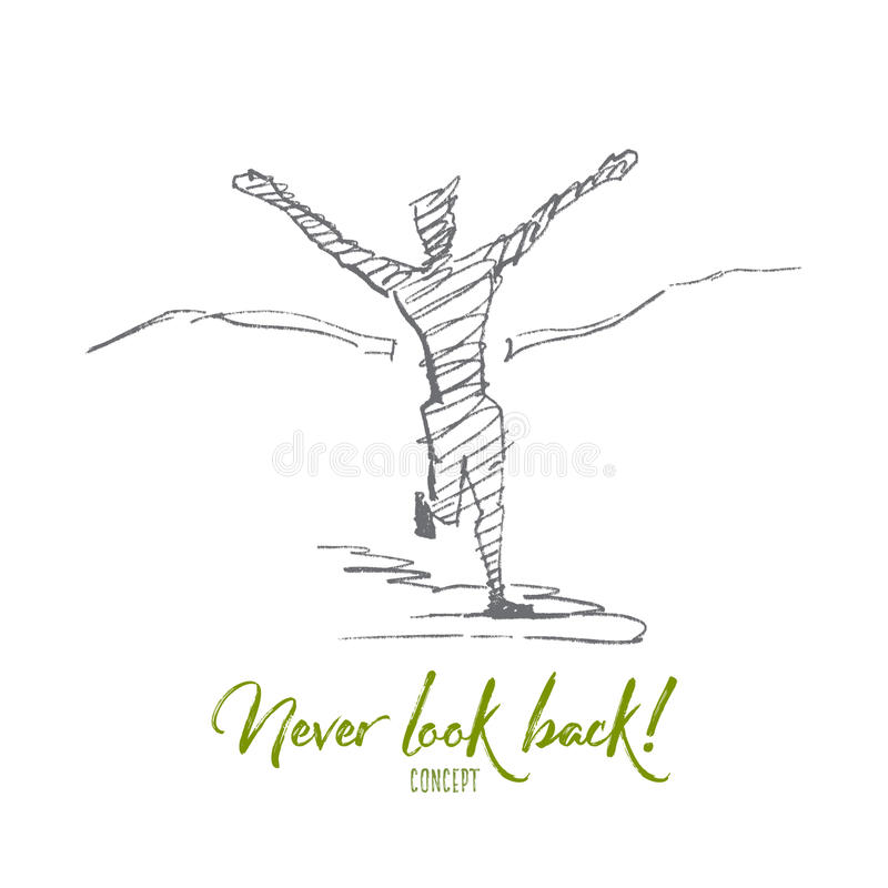 Beëindigt de hand getrokken mens kruising band met het van letters voorzien vector illustratie