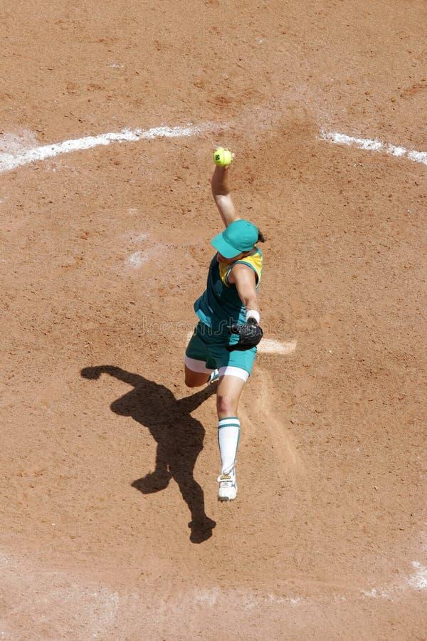Beísbol con pelota blanda 02 de arriba foto de archivo