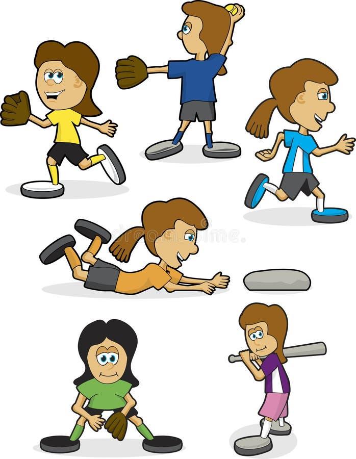 Beísbol con pelota blanda de las muchachas libre illustration