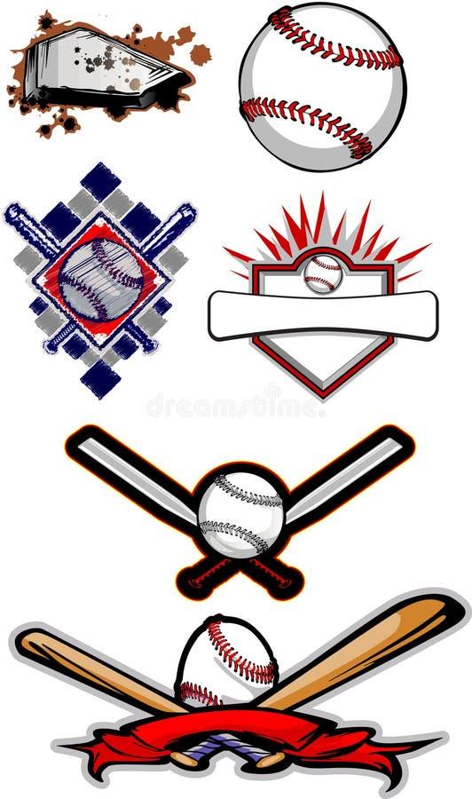 Beísbol con pelota blanda llameante y palos del béisbol stock de ilustración