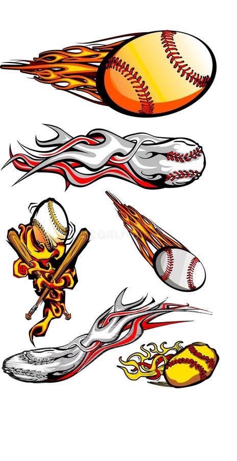 Beísboles con pelota blanda llameantes y palos de los béisboles ilustración del vector