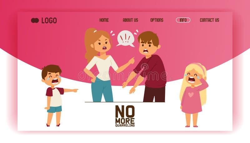 Bełt strony internetowej mężczyzny kobiety w rodzinnej konfliktu płaczu dzieci chłopiec dziewczyny ilustracyjnym tle nieszczęśliw royalty ilustracja