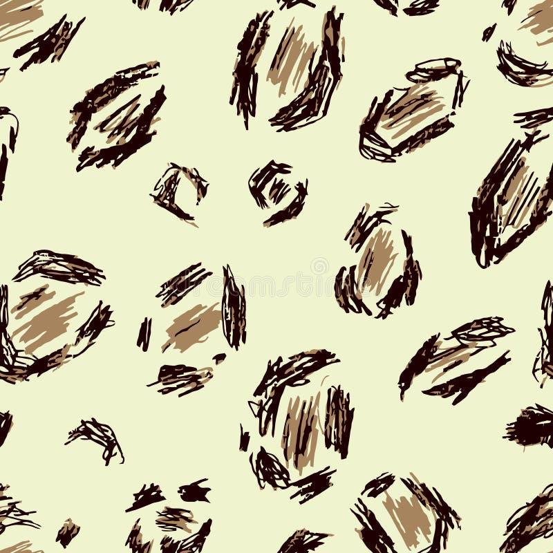 Beż, czerń, brown lampart skóra Bezszwowy deseniowy tło jaguar Safari zwierzęcy druk Afryka tekstura Wektorowy tapetowy futerko royalty ilustracja