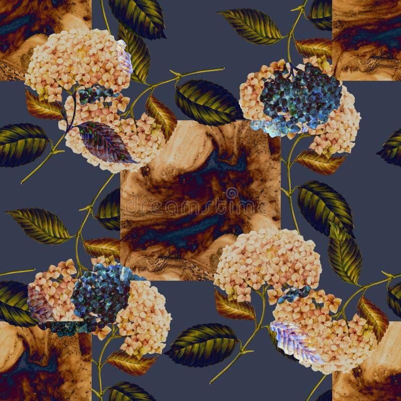 Beżowa łasa i kwiaty hortensja na błękitnym tle Dla projekta bezszwowy wz?r ilustracja wektor