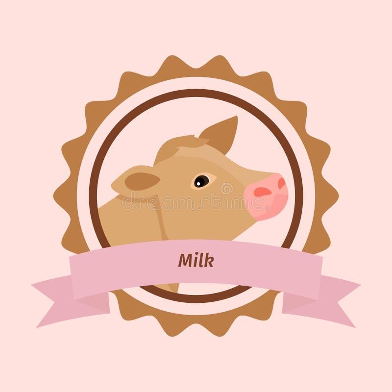 Beżowa krowy głowy mleka etykietka ilustracja wektor