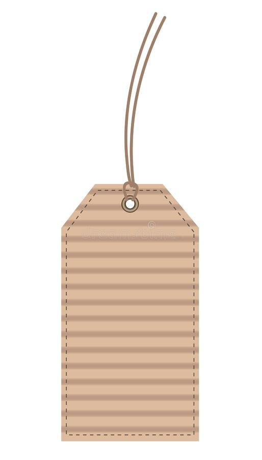 Beżowego kartonu etykietki szwu Kartonowa etykietka odizolowywająca na bielu, zapas ilustracja wektor