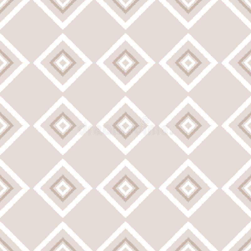 Beżowej i białej ikat ornamentu geometrycznej abstrakcjonistycznej tkaniny bezszwowy wzór, wektor ilustracji