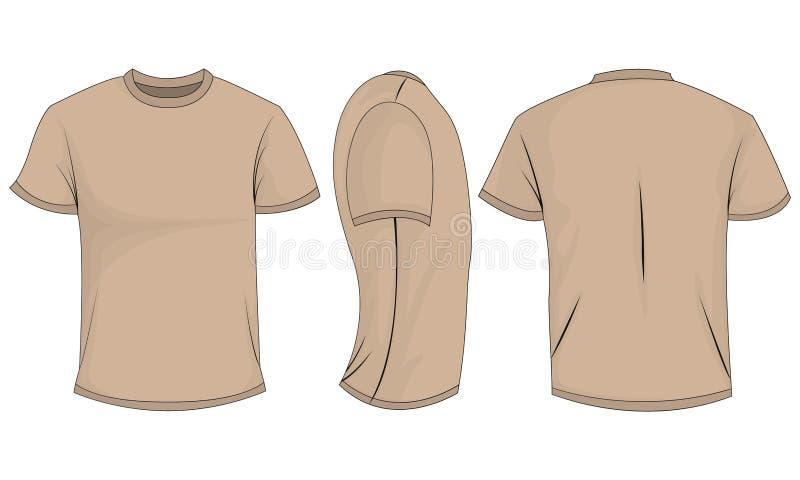 Beżowi koszulka mężczyźni z krótkimi rękawami przód, plecy, boczny widok pojedynczy białe tło ilustracja wektor