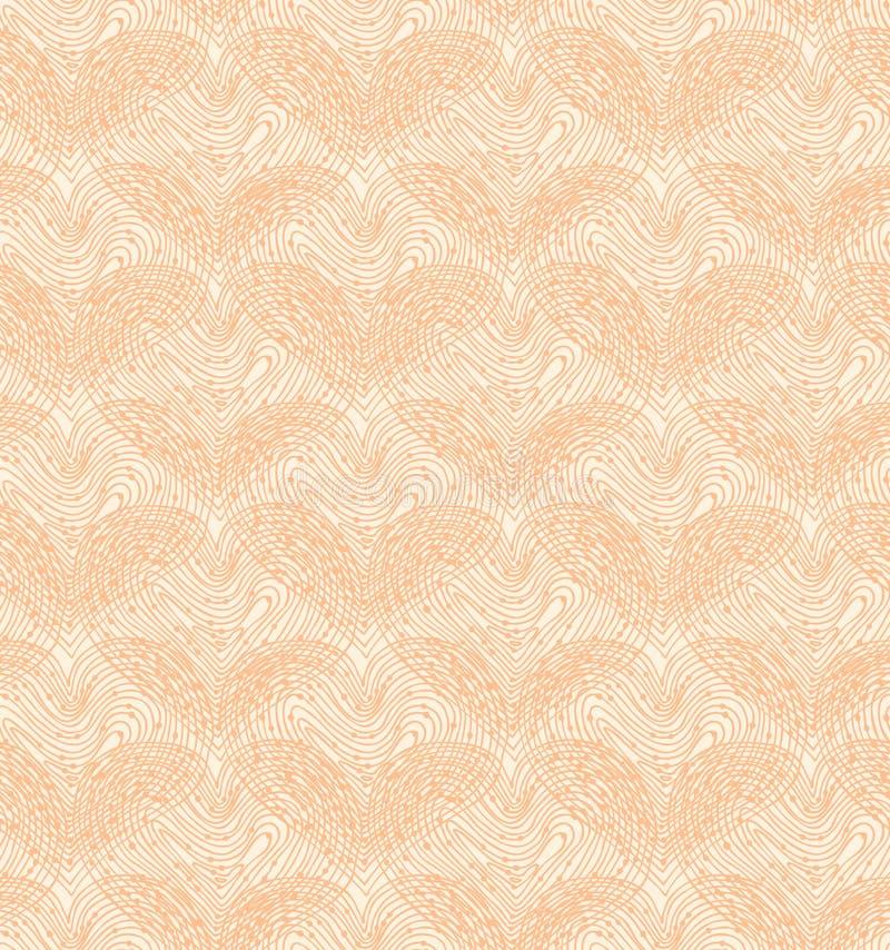 Beżowy bezszwowy wzór z liniowymi sercami. Dekoracyjna siatkarstwo tekstura royalty ilustracja