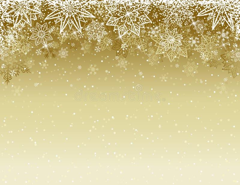 Beżowy bożego narodzenia tło z płatkami śniegu i gwiazdami, wektor royalty ilustracja