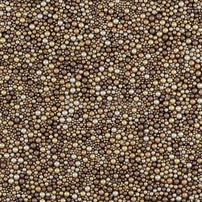 Beżowy koloru Opakunkowego papieru wzór, ilustracja Z Oczyszczonymi Kruszcowymi piłkami 3D Odpłaca się royalty ilustracja
