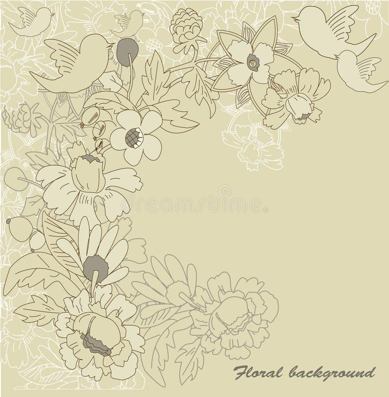 Beżowy kwiecisty tło royalty ilustracja
