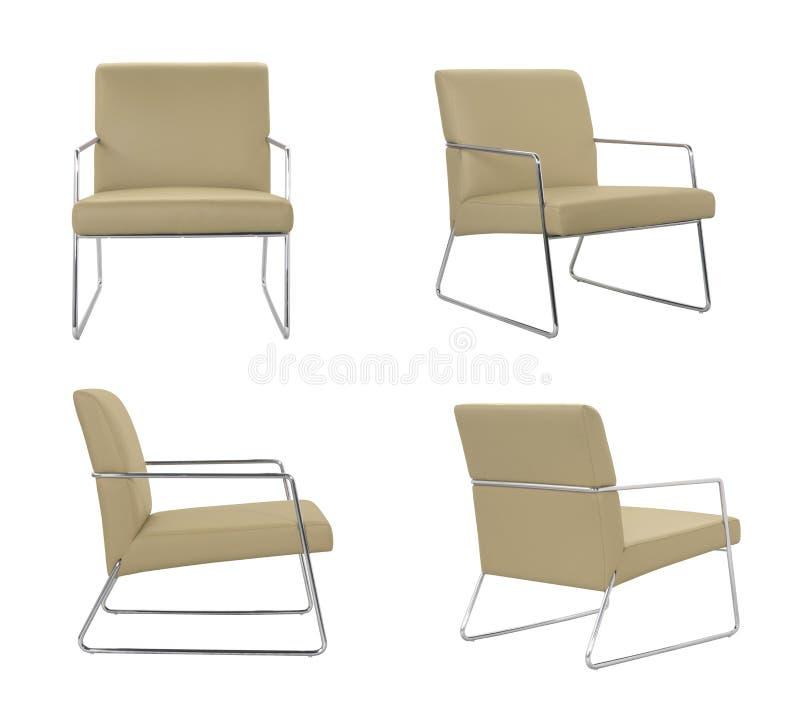 Beżowy rzemienny krzesło zdjęcia royalty free