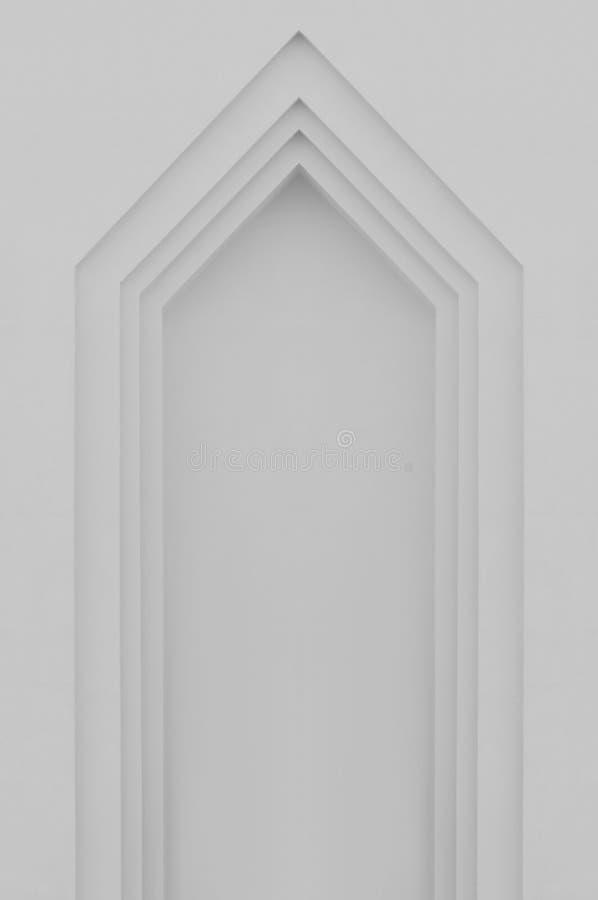 Beżu faux popielaty gipsujący łuk, fałszywy sfałszowany okno lub drzwi stiuk, zdjęcia royalty free