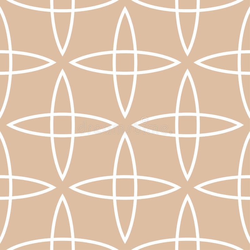 Beżu i białego geometryczny ornament bezszwowy wzoru royalty ilustracja