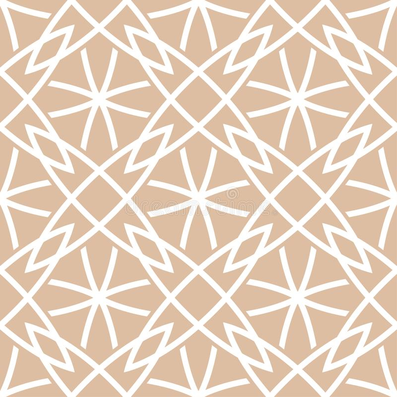 Beżu i białego geometryczny ornament bezszwowy wzoru ilustracja wektor