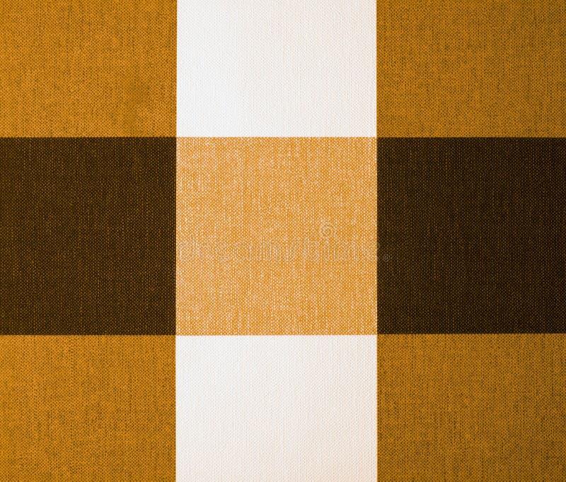 Beżu, pomarańcze i Brown Gingham Tablecloth, zdjęcie stock