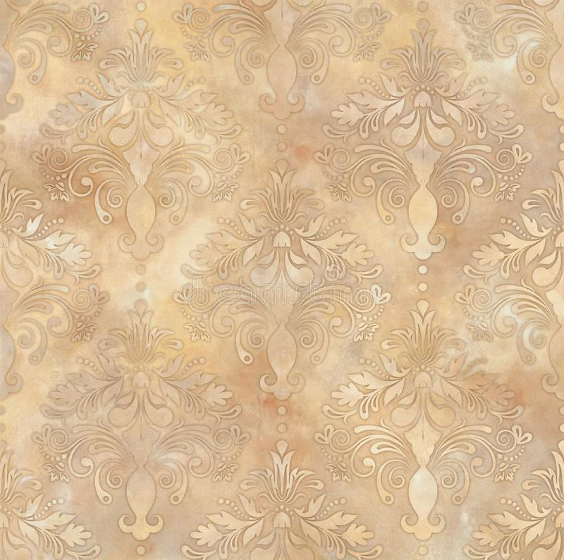 Beżu rocznika adamaszkowy tło, tapety deseniowy bezszwowy ilustracja wektor